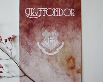 Art drawing print, Harry Potter, Postcard, illustration Gryffindor