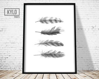 Feather Art Print, Watercolour Feather Print, Wall Art Print, Minimalist feather print, Feather print, Black White print, Home Print, Modern