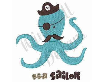 Octopus Pirate - Machine Embroidery Design