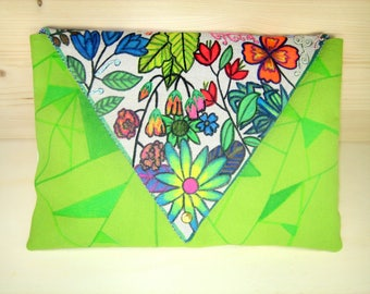 "Large pouch ""Spring flowers"" cotton"