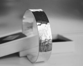 Sterling Silver Cuff Bangle, Wide Silver Cuff Bangle, Hammered Silver Bangle, Open Bangle, Silver Bangle, Silver Jewelry