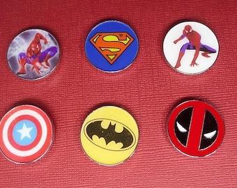Set of Six Super Hero Inspired Magnets, Q52