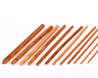 12 bamboo crochet hooks sizes assorted