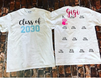 Handprint Shirt- Class of 2030 Shirt- Class of 2032 Shirt- Kindergarten Shirt- Grow with Me Shirt- First Day of School Shirt