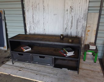 Wood and steel industrial style TV cabinet