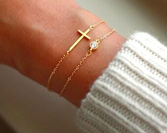 Sideways Cross Gold Bracelet - CZ Bracelet Gold - Side Cross Bracelet - Gold Bracelet SET | Tiny Diamond Bracelet Gold - Custom Bracelets