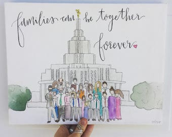 Watercolor Family + LDS Temple