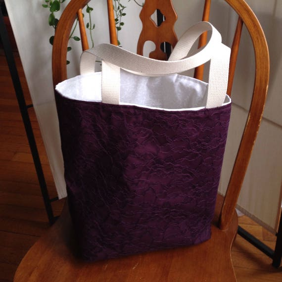 Lace/Cotton Tote Bag with Inside Zippered Pocket