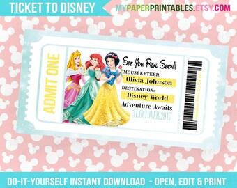 Disney Princess Printable Ticket To Disney DIY Personalize INSTANT DOWNLOAD Disney World Disneyland Surprise Pass Disney Princess Gift Idea
