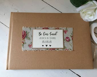 Personalised be our guest shabby chic style wedding guest book