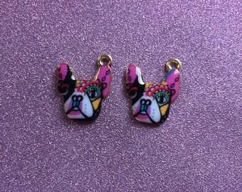 2 Very Cute Multicoloured Enamel dog face charms