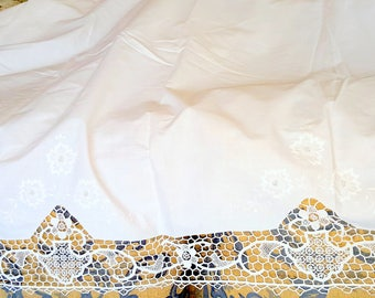 Vintage English lace handmade long white curtains