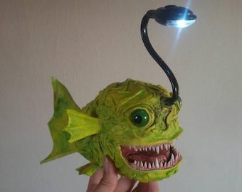 Angler fish LED lamp unique light yellow green Fisch reading lamp night light deep sea fish Monster fishing