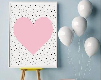 Girl Nursery PRINTS, Modern Nursery Art, heart Print, Baby Girl Nursery Print, Girls Room Print, Printable Kids heart Art, Pink Decor, StMin