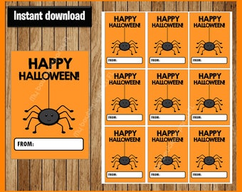 Spider Thank You Tags - Halloween Tags - Halloween Favor Tags - Halloween Gift Tags - Halloween Labels - Halloween Treat Tags