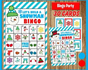 Printable 30 Let's Build a Snowman Bingo Cards; printable Winter Bingo game, Snowman printable bingo cards instant download