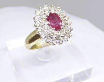 Ruby, diamond, 18 ct gold ring
