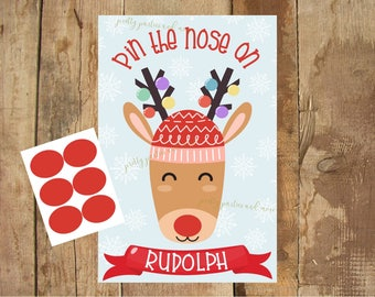 Pin the Nose on Rudolph game - DIGITAL files only - Christmas party - Party Game - Reindeer