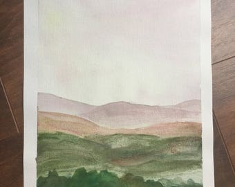 Mountains in late afternoon, original 6x9 inch watercolor painting