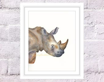 Rhino Print, Watercolour Rhino, Rhinoceros Print, Animal Illustration, Art for Home, African Safari Animal, Father's Day Gift