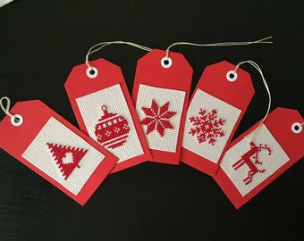 5 Completed Cross Stitched Christmas Gift Tags