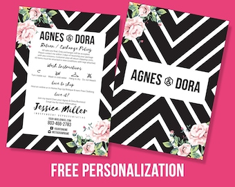 Agnes and Dora Thank You Card, Free Personalization, Agnes and Dora Design, Boho, 5x7 Inches, Return Policy