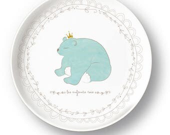 Blue bear porcelain plate