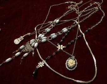 Lot of Five Silver Tone Necklaces In Wonderful Condition - Free Shipping to USA Only