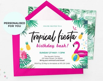 Fiesta invitations Printable, Pool party invitations, Summer party invitations Tropical invitations Flamingo invitation Pineapple invitation