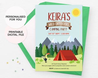 Camping birthday invitations, Camping invitations, Wild outdoors invitations, Adventure invitations, Nature birthday invitations, Hiking