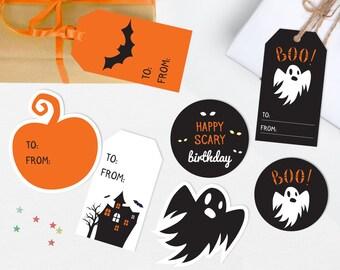 Halloween gift tags, Printable Halloween tags, Halloween birthday tags, Printable gift tags, Halloween Printable, Ghost tag Pumpkin gift tag