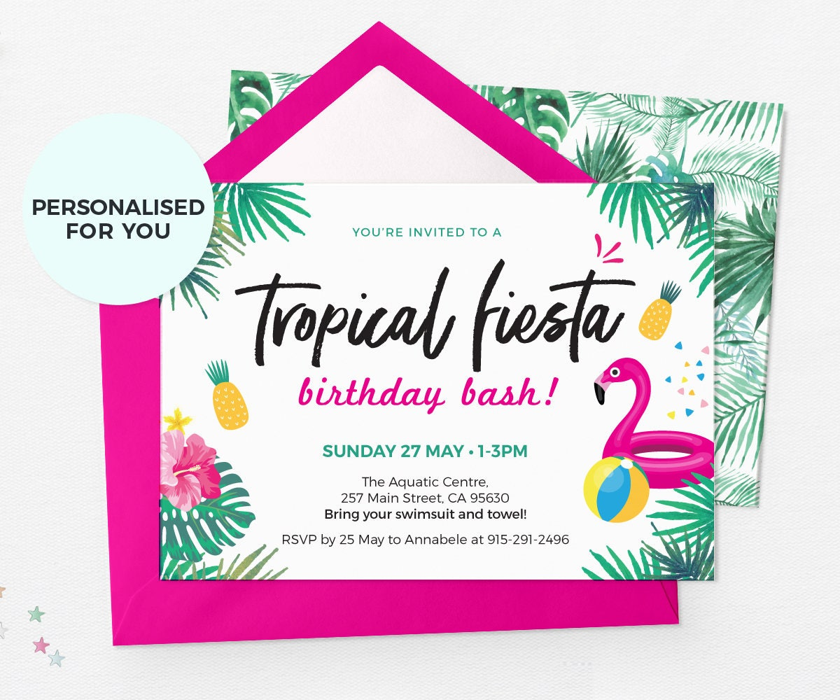 Fiesta invitations Printable, Pool party invitations, Summer party ...