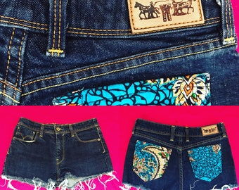 Reworked Levi's Indigo Denim Shorts With Paisley Pockets - UK Size 6 - 8/US Size 2 - 4