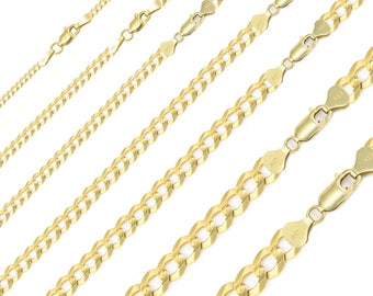 """14K Solid Yellow Gold Cuban Necklace Chain 2.0-12.5mm 16-30"""" - Round Curb Link"""