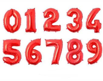 32 inch Red 1-9 Number Balloons,Helium balloons