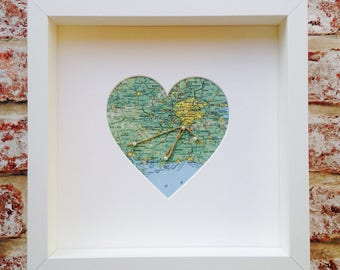 Personalised Pearl Pin Map Heart Frame