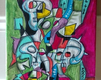SKULLS Outsider Abstract Folk Art Painting by John Churchill