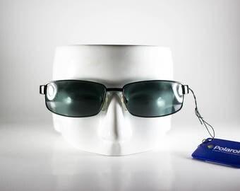 POLAROID Vintage Sunglasses Unisex Silver Metal Plastic Rectangular 1990s POLS128M-1