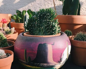 Hand Painted in Mexico Planter Pot • Desert Scene Planter Pot • Cactus Pot