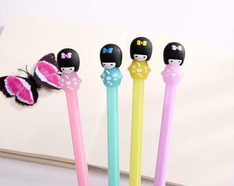 Gel pen Japanese doll