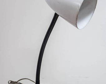 ON SALE Vintage Midcentury Desk Lamp Gooseneck Industrial White and Black Lamp Tested and Working With Original Cord