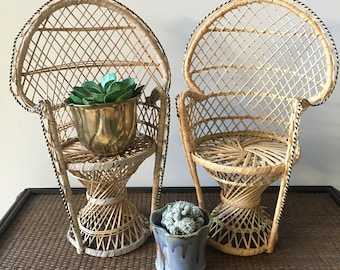 "Set of 2- 16"" Peacock Chairs- Plant Stand- Wicker Doll Chairs- Bohemian Decor"