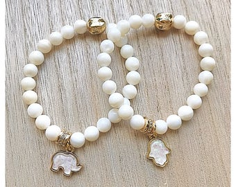 White Nacar Shell + Hamsa/Elephant Charm set.