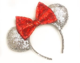Silver + Red Sequin Ears