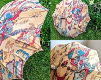 Rare Antique/Edwardian Printed Parasol