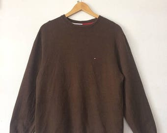 20% OFF TOMMY HILFIGER Sweatshirt Embroidered Logo Brown Colour Small Size Fashion Hip Hop Casual Street