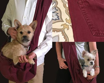 Bullshitz Doggie Bagz: Maroon Denim and Blue Pasley