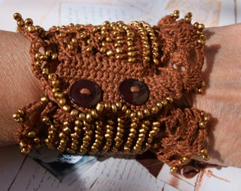 Handmade crochet cuff bracelet in brown, Crochet Statement Bracelet, Beaded cuff, Bracelet Cuff, Crochet Jewelry, Liliac Beaded Cuff