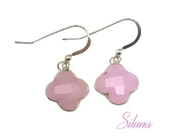 Earrings dangling clover 925 sterling silver and pink chalcedony