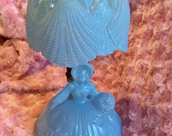 Vintage Southern Belle blue glass boudoir lamp